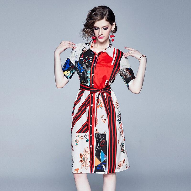 Robe femme 2019 automne nouveau Slim Floral sauvage simple boutonnage Section longue à manches courtes robes Slim un court