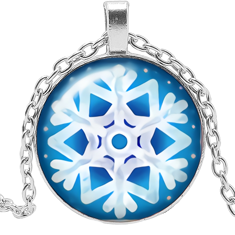 2019 Latest Ice and Snow World Snowflake Pattern Series Glass Convex Fashion Pendant Necklace Birthday Gift in Pendant Necklaces from Jewelry Accessories