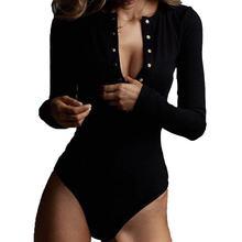Сексуальный Трикотажный боди с v образным вырезом женские черные