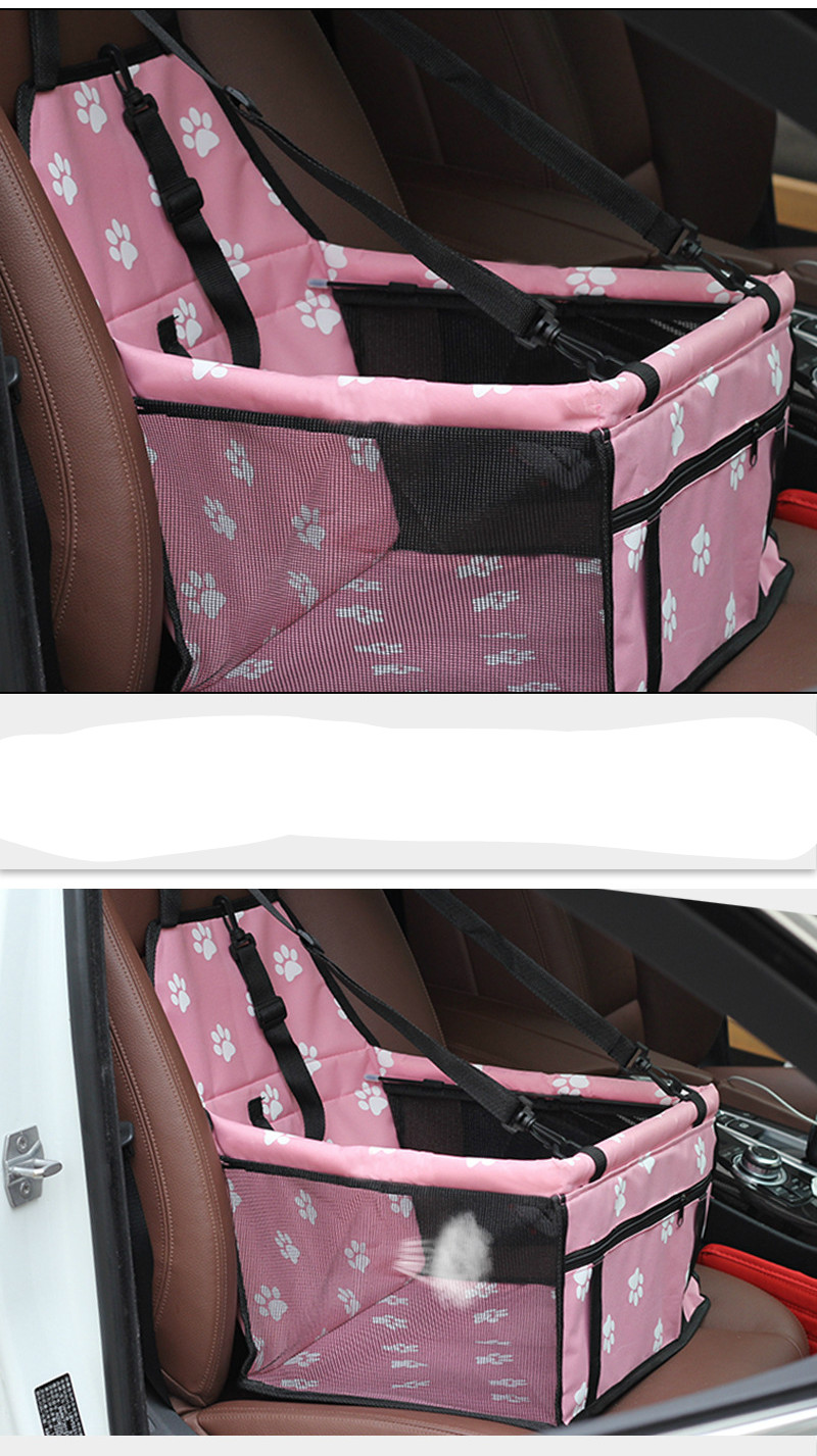 Pet Dog Car Carrier Seat Bag Waterproof Basket Folding Hammock Pet Carriers Bag For Small Cat Dogs Safety Travelling Mesh 3