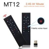 MT12 2,4 г голосовые Управление Беспроводной Fly Air Мышь 6-Axis Gyro интеллектуальный пульт дистанционного управления Управление для X96 TX3 мини H96 MAX ...
