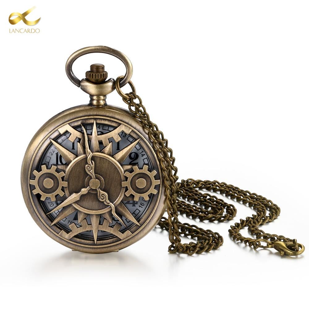 Lancard Steampunk Wheel Gear Pocket Watch Hollow Clock Vintage Quartz Round Dial Men Necklace Chain Watches Gift For Lovers