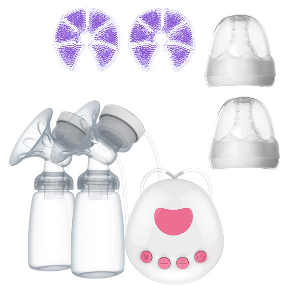 USB Electric Breast Pump Double Nipple Suction Milk Warmer Heater Baby Breast Feeding Lactation Accessories Milk Freezer Bag Pad