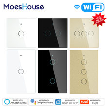 Moeshouse WiFi Smart Light Touch Switch RF433 Smart Life/Tuya App Control,Alexa Google Home Voice Control EU US 2/3 Way