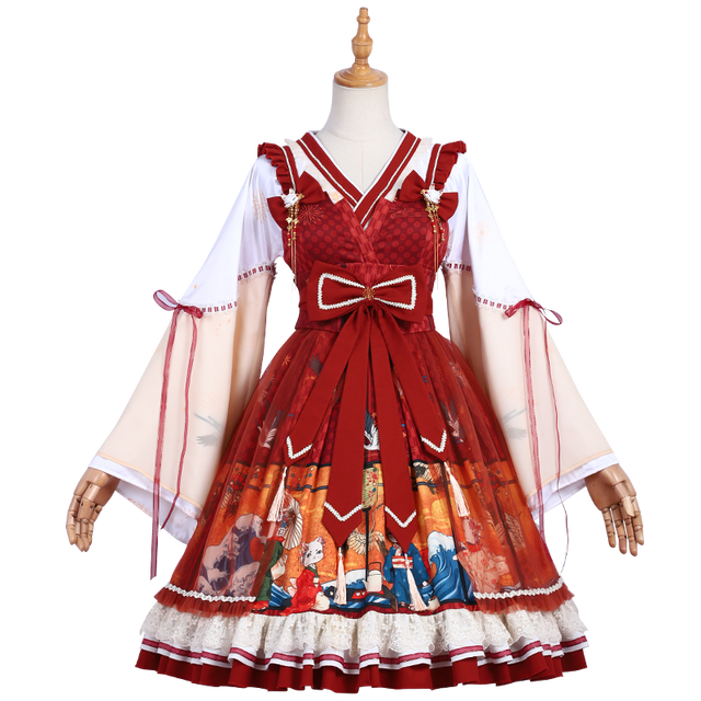 японское винтажное милое платье в стиле лолиты с перекрещивающимися фотография
