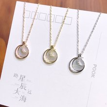 S925 Sterling Silver 925 Original Pendant Necklace Woman Ins Pendant Zircon Lady Cross Chain Luxury Moon and Star Choker Jewelry
