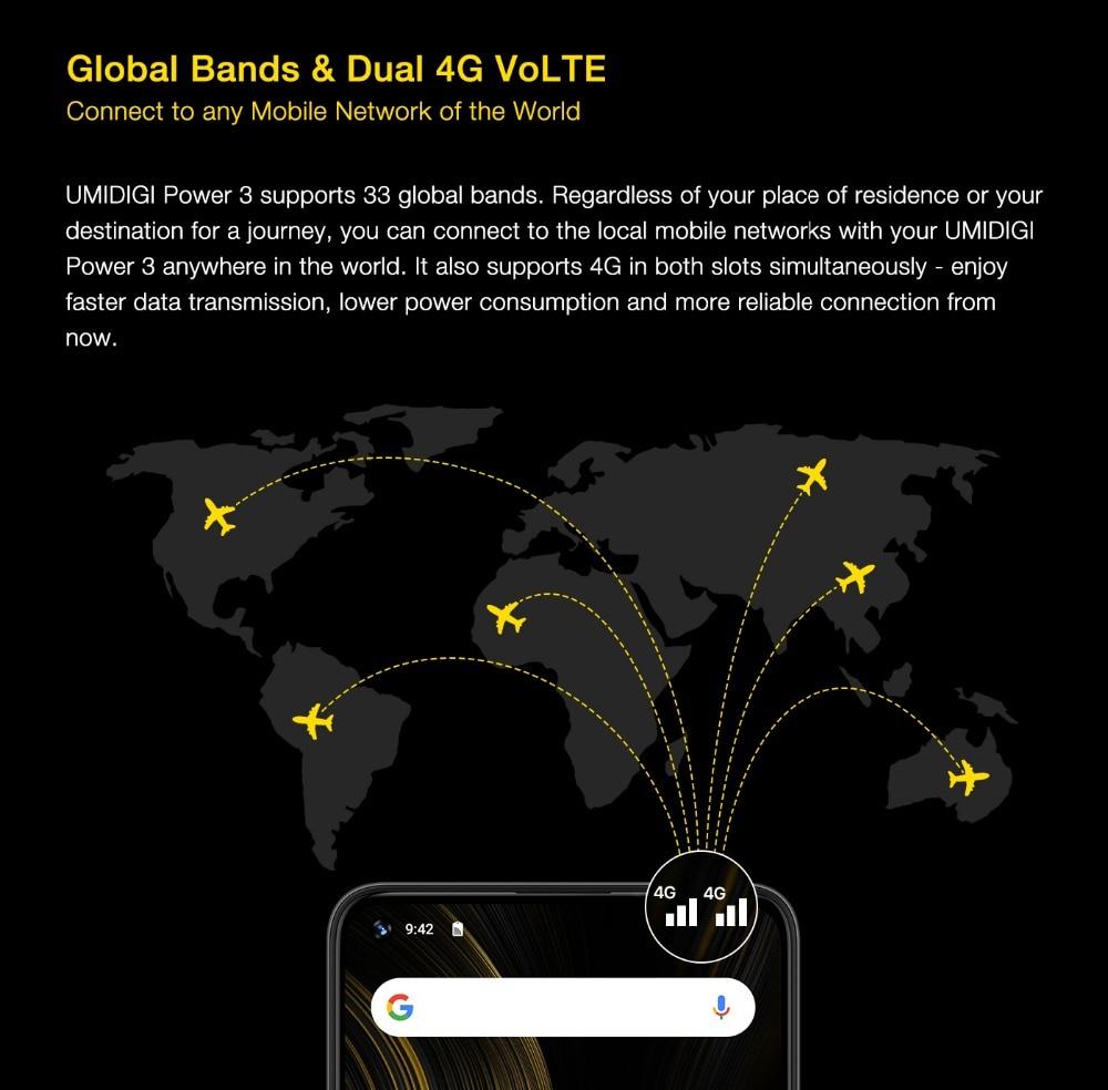"H98be1045a29d4674ac1dbd52e8a3f676I UMIDIGI Power 3 Android 10 48MP Quad AI Camera 6150mAh 6.53"" FHD+ 4GB 64GB Helio P60 Global Version Smartphone NFC Pre-sale"
