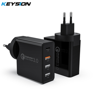 KEYSION 4 Ports 48W Quick Charger PD Type C USB Charger for Samsung iPhone 12 Tablet QC 3.0 Fast Wall Charger US EU Plug Adapter