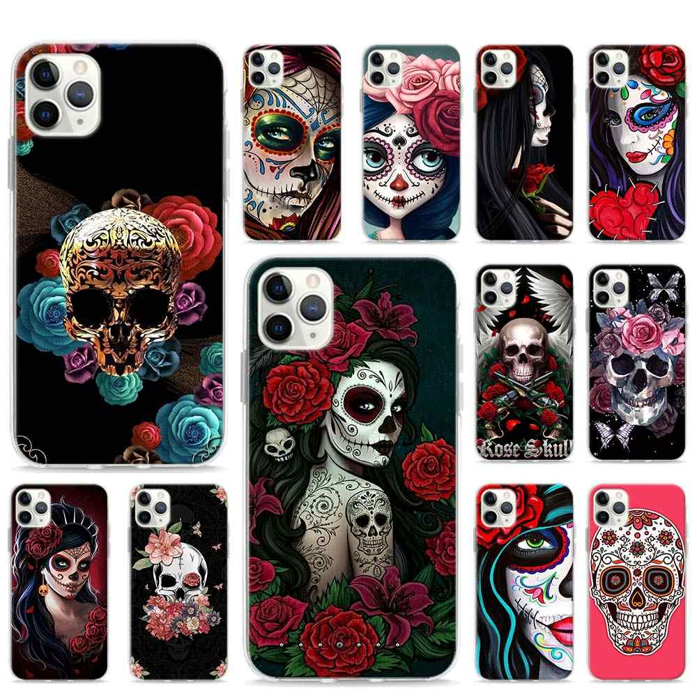 Catrina beautiful rose girl Skull Art Soft Phone case for iPhone 11 Pro Max XR X XS MAX 6 7 8 Plus SE TPU Sillicone Cover Shell