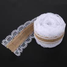 Holiday Decoration Gift DIY Decorations 5m/roll Natural Burlap Lace Hessian Jute Ribbon for Home Wedding Engagement Decoration(China)