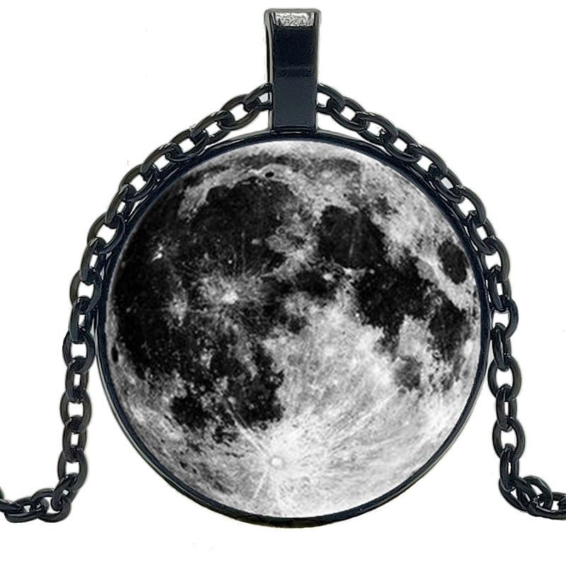 2019 New Hot Space Moon Pattern Necklace Glass Convex Round Pendant Fashion Wear Jewelry