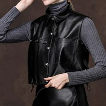 Leather brand leather short vest women punk sheepskin black vest top grade motorcycle sleeveless coat(China)