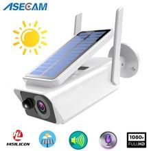 Cámara de vigilancia de 1080P Full HD con vista panorámica, panel Solar, batería recargable, seguridad interior exterior, WiFi, cámara IP