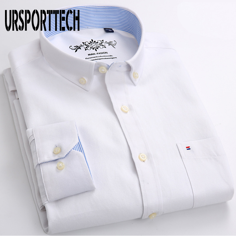 White Dress Shirt Men Long Sleeve Solid Oxford Dress Shirt With Left Chest Pocket High-quality Male Casual Top Button Down Shirt
