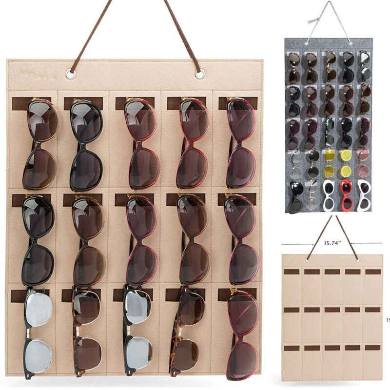 CA Eyeglass Sunglasses Storage Display Organizer for 15 Glasses for wall door