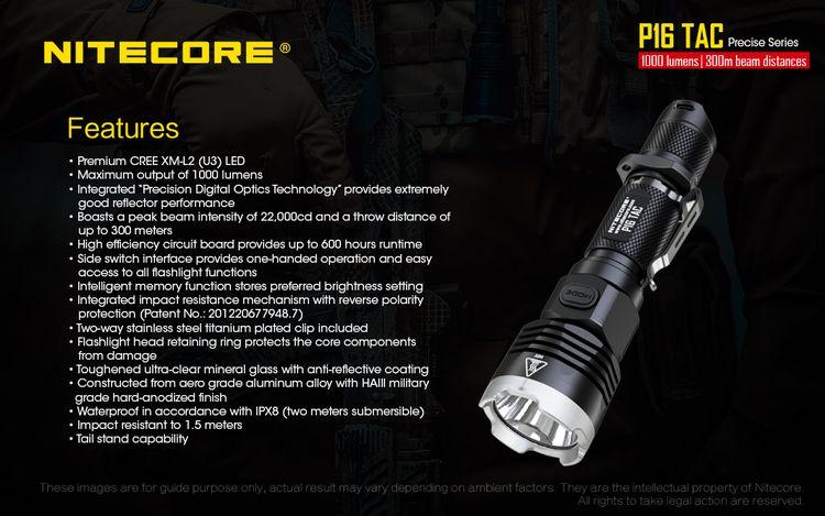 Nitecore-lanterna tática p16tac com led cree de
