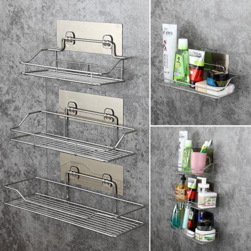 New Durable Stainless Steel Shelf Basket Bathroom Wall Mounted Storage Rack Adhesive Caddy Rack Tidy Organise