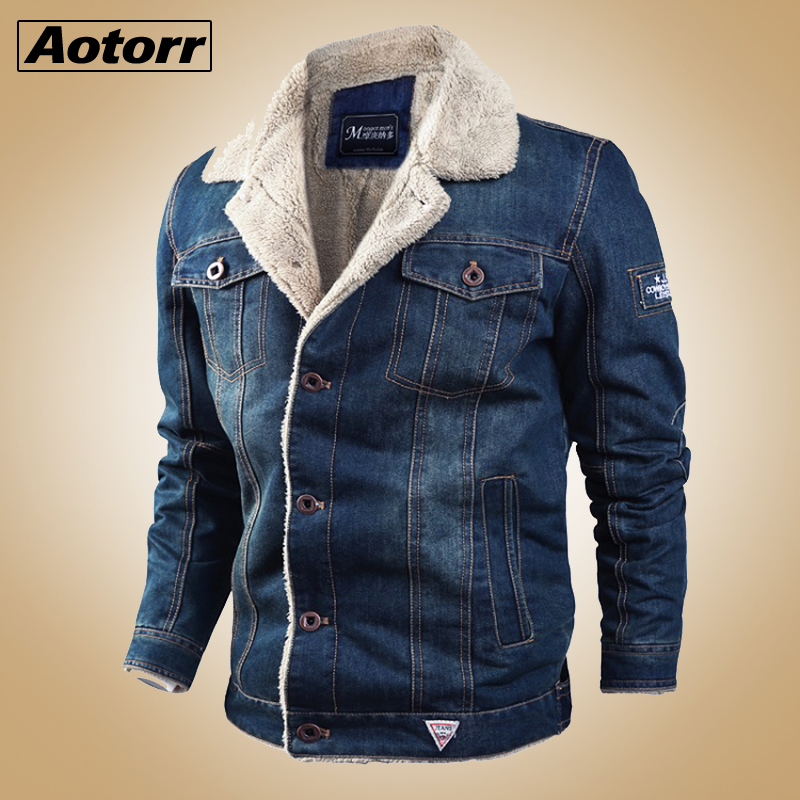 Denim Mens Jacket Wool Liner Thicker Coats Winter Military Jeans Jacket Men Thick Warm Bomber Army Mens Jackets Large Size