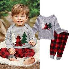 От 1 до 5 лет комплект рождественской одежды для малышей, рождественские наряды для маленьких мальчиков футболка с длинными рукавами клетчатые штаны Рождественские наряды для маленьких девочек