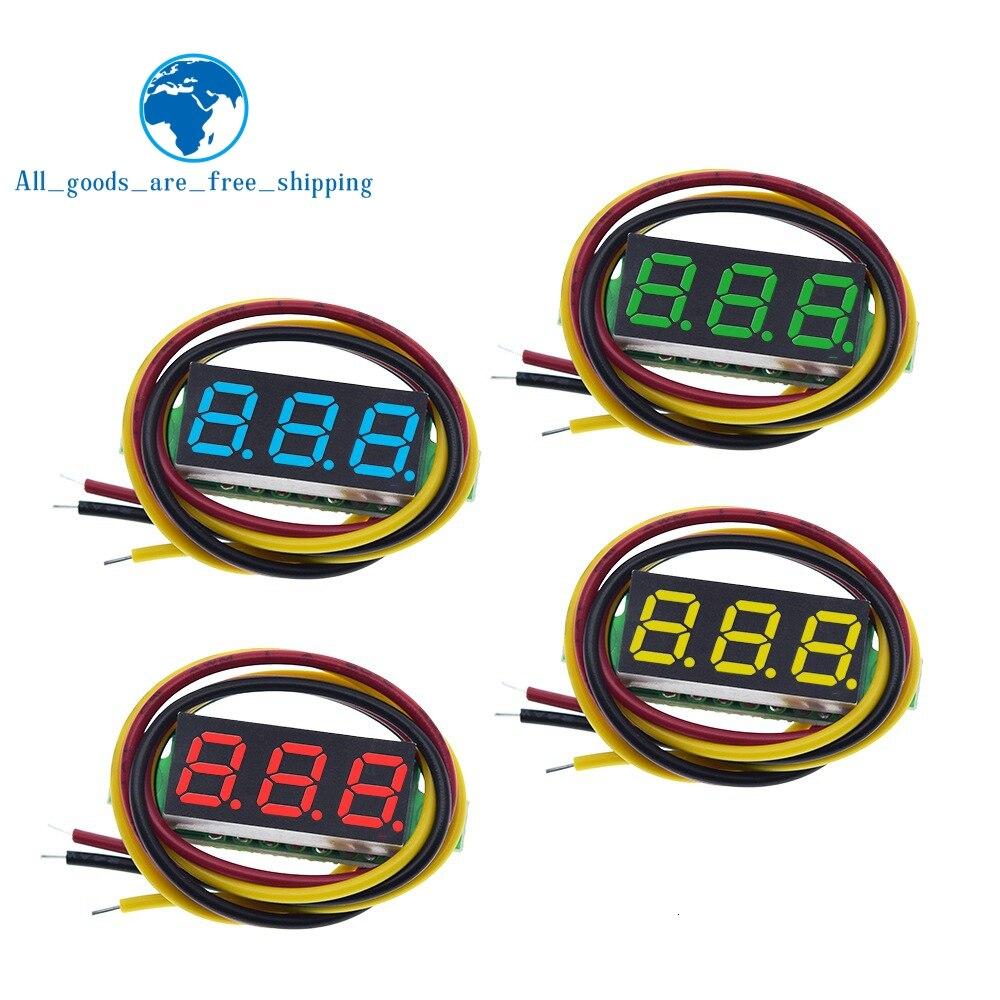 Завеса три линии точность DC Цифровой вольтметр голова светодиодный цифровой вольтметр DC4.5V-30V 0,28 дюймов Мини цифровой вольтметр 0-100V