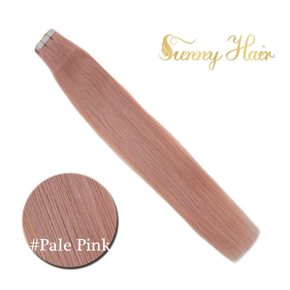 VeSunny Adhesive Tape In Hair Extensions 100% Real Human Hair Skin Weft Pale Pink Machine Made Remy Quality European Hair 50gr