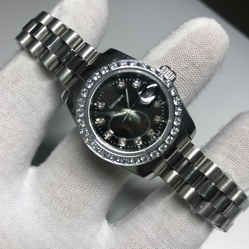 Luxury Brand New Women Datejust Stainless Steel Automatic Self-wind Diamonds Sapphire Black Dial Diamonds Bezel Watch 28mmAAA