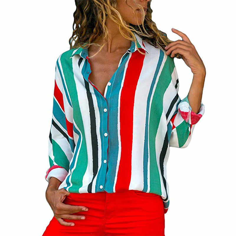 S-3XL プラスサイズルース女性ブラウス長袖ターンダウン襟オープンシャツストライプブラウス夏シフォン Blusa 女性トップス