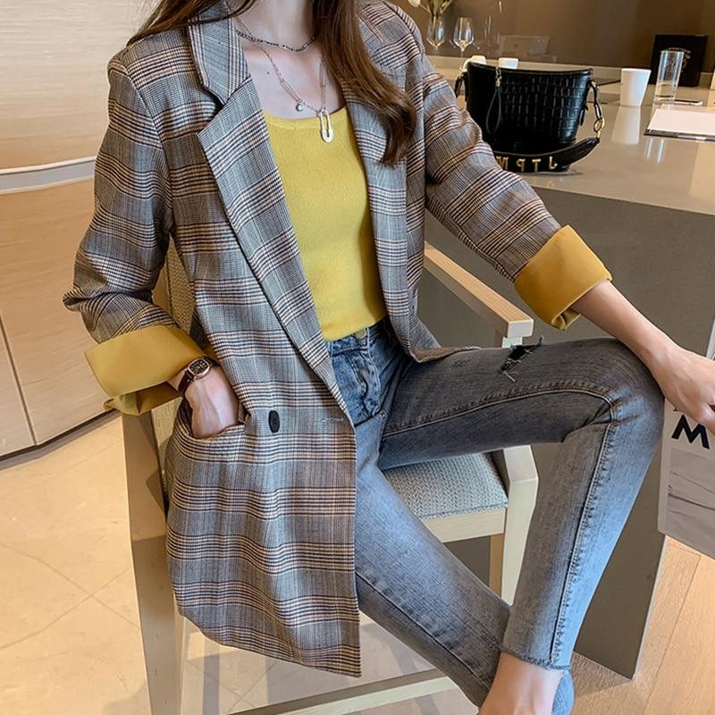 Large Size Plaid Korean Ladies Blazer Gray Loose Casual Stylish Suit Jacket Blezer Feminino Vintage Office Women Blazer MM60NXZ