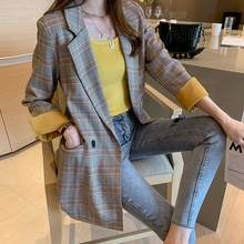 Large Size Plaid Korean Ladies Blazer Gray Loose Casual Stylish Suit Jacket Blezer Feminino Vintage Office Women Blazer MM60NXZ