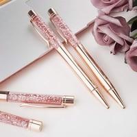 Caneta esferográfica ouro rosa metal reenchimento brilho líquido dinâmico areia caneta tinta preta para material de escritório|  -
