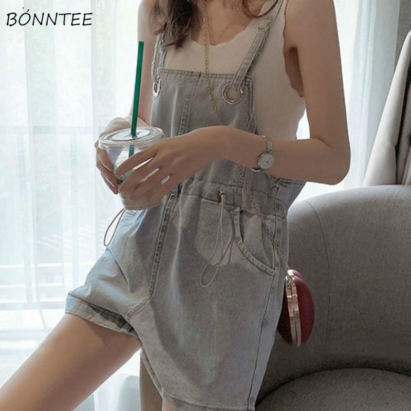 Denim Rompers Women Summer Korean Loose Adjustable Sweet Simple Chic Female Streetwear All match Harajuku Leisure Lady Playsuits