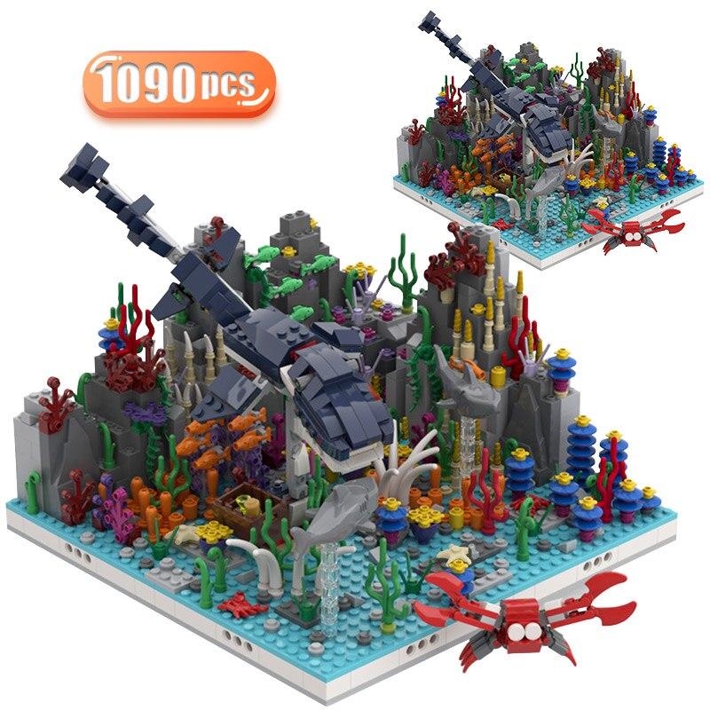 Город МОС, креативный уличный вид, динозавр, рифовый дом, строительные блоки, техника, дворец Юрского периода, архитектурные кубики, игрушки ...