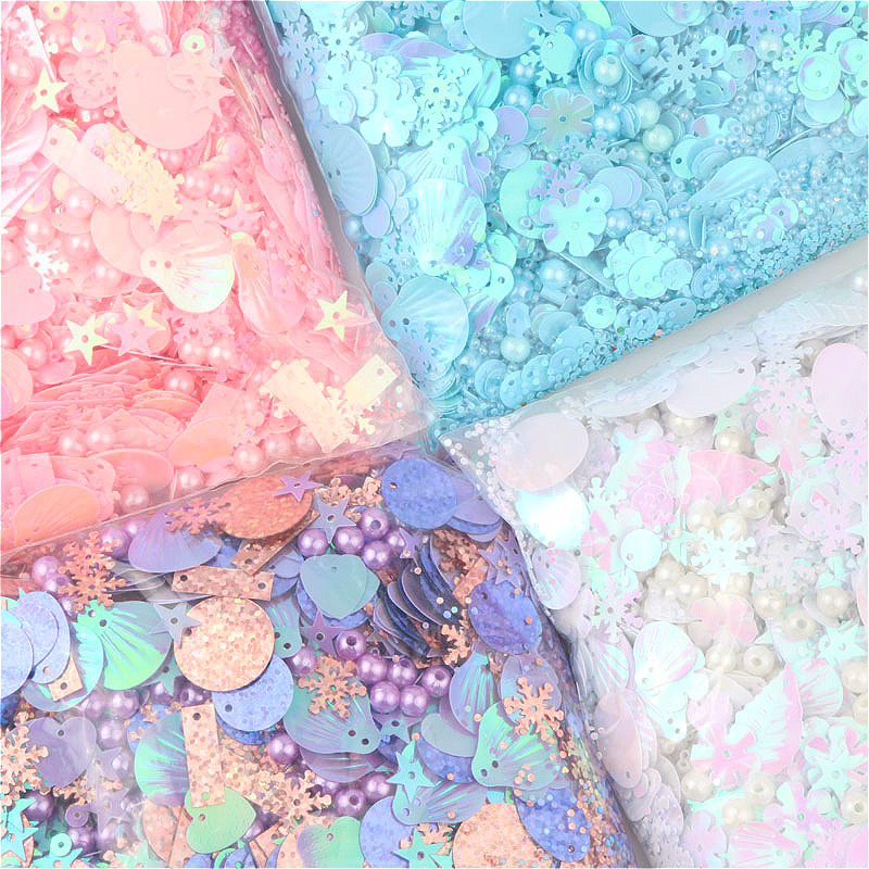 Mix Sequins Paillettes Pearl Heart Snowflake Star Shell Round Shape Sequin 4 Colors PVC DIY Craft With 1 Hole Mixed Stowag 10g