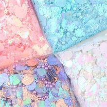 Mix lantejoulas paillettes pérola coração floco de neve estrela concha forma redonda sequin 4 cores pvc diy artesanato com 1 buraco misturado stowag 10g