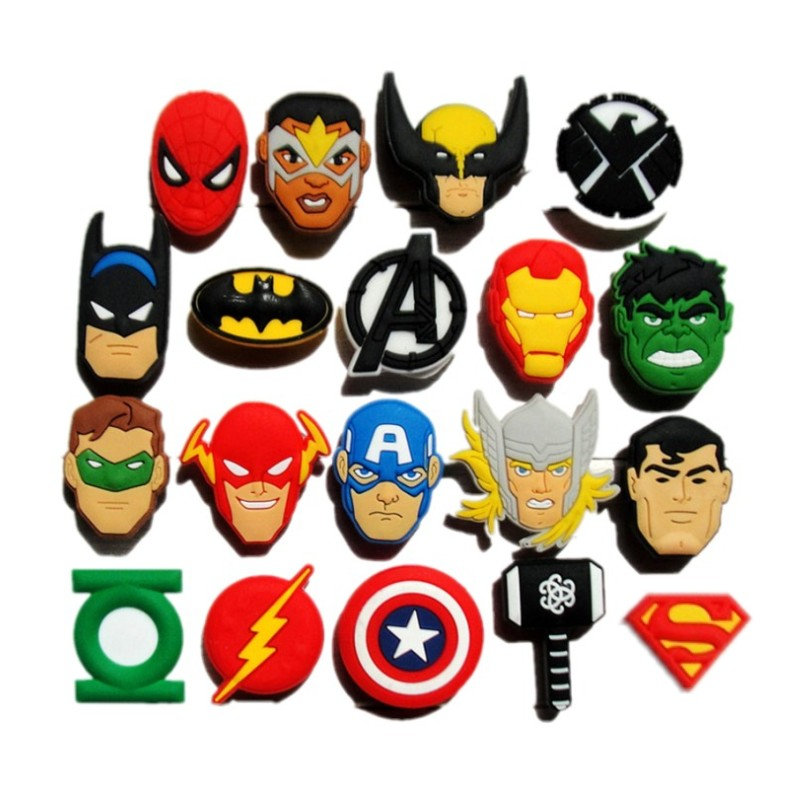 1pc Avengers Heroes PVC Shoe Charms Cool Shoe Accessories Hot Movie Icons Shoe Buckles Decor For Croc Bracelets JIBZ Kids Gift