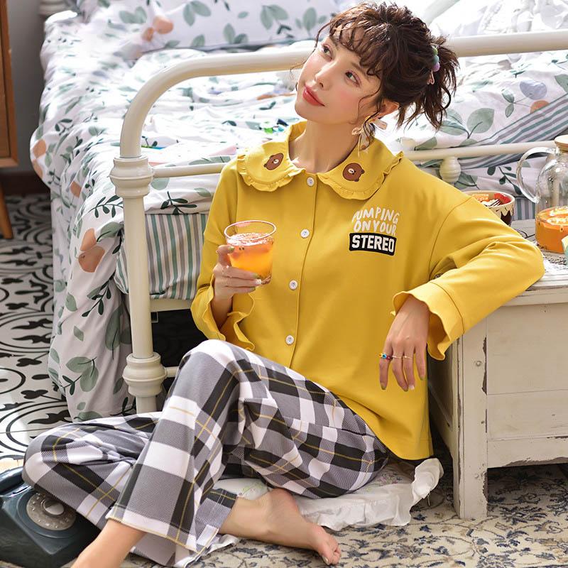 Tonmodi Дамский пижамный комплект весна и осень тонкий японский сладкий мультфильм печати с длинным рукавом милый Кукла Пижама с воротником Повседневная - Цвет: 5903