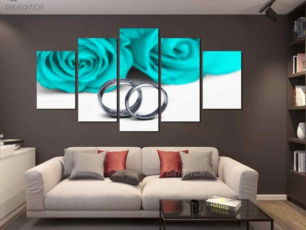 5 Pieces HD Poster Couple Silver Pair Ring Wall Art Canvas Painting Print Picture Modern Romantic q50