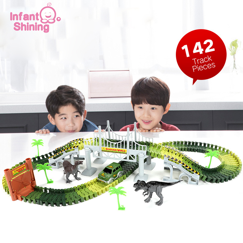 Infant Shining Kids Car Toys Dinosaur Track Car Assemble Multi-function 142PCS Buckle EletericToys Boys Birthday Gifts
