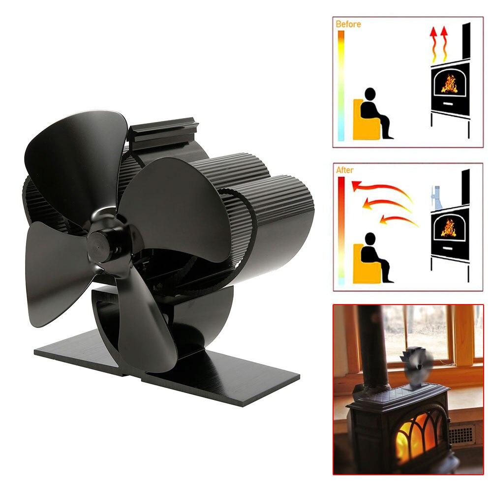 Lareira preta 4 lâmina térmica calor alimentado