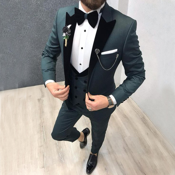 Latest Coat Pant Designs Light Grey Men Suit Double Breasted Slim Fit Skinny 3 Piece Tuxedo Groom Custom Blazer Terno Masculino in Suits from Men 39 s Clothing
