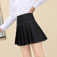 Verão saias femininas 2021 cintura alta estilo coreano saias plissadas para meninas bonito doce senhoras xadrez mini saia