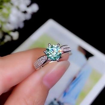 green moissanite D VVS1 925 Sterling Silver Gemstone Ring substitute for high hardness diamond lady's ring