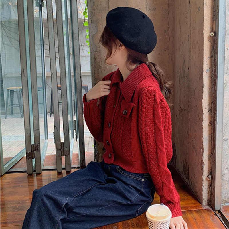 ฤดูใบไม้ร่วงฤดูหนาวผู้หญิงถักเสื้อกันหนาว Cardigan Coat Turndown ปลอกคอ SINGLE Breasted สั้นเสื้อถักหญิงเสื้อแดง