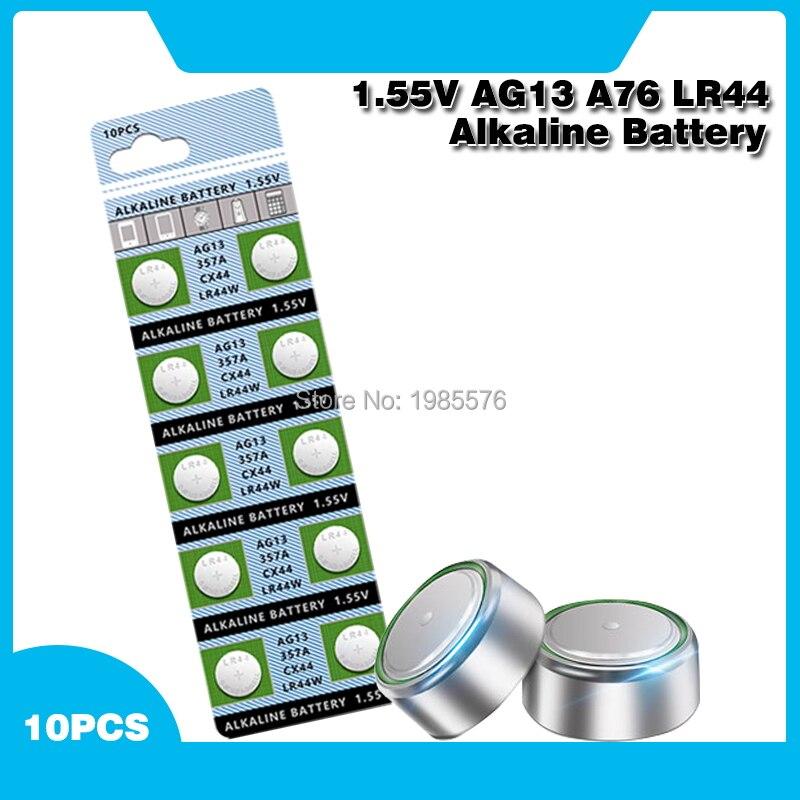10 pièces/carte AG13 LR44 LR1154 SR44 A76 357A 303 357 LR44W Batterie Pile bouton 1.55V Alcaline Pour Montres Jouets