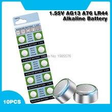 Lot de 10 pièces de piles alcalines pour montres et jouets, AG13, LR44, LR1154, SR44, A76, 357A, 303, 357, LR44W, 1.55V