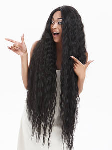 Noble Synthetic Lace Wigs Hair-42inch Blonde Curly Cosplay Black Long Ombre for Women