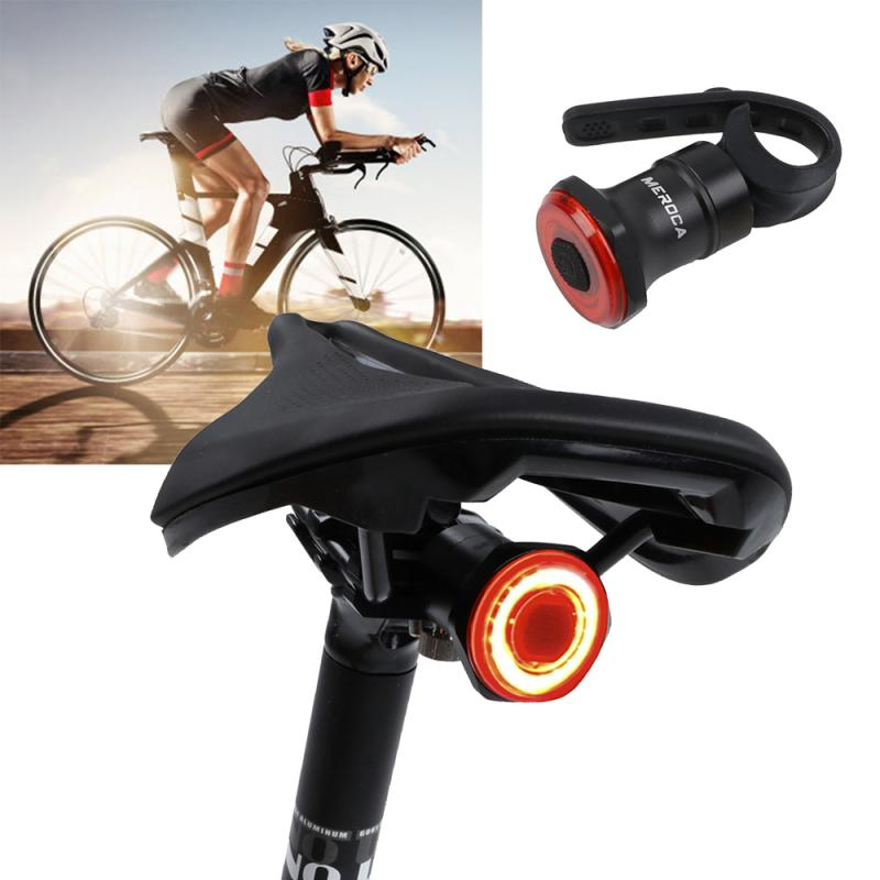 MEROCA Bicycle Night Riding Taillight Intelligent Brake Induction Taillights Rechargable Road Bike Mountain Bike Sensor Light