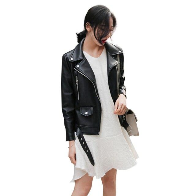 FTLZZ New Autumn Women Pu Leather Jacket Woman Zipper Belt Short Coat Female Faux Leather Black Motorcycle Outwear Biker Jacket 6