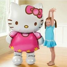 Globo de aluminio con diseño de gato de Hello Kitty decoración de fiesta de cumpleaños, globo de aire inflable, gran tamaño, 116x68cm