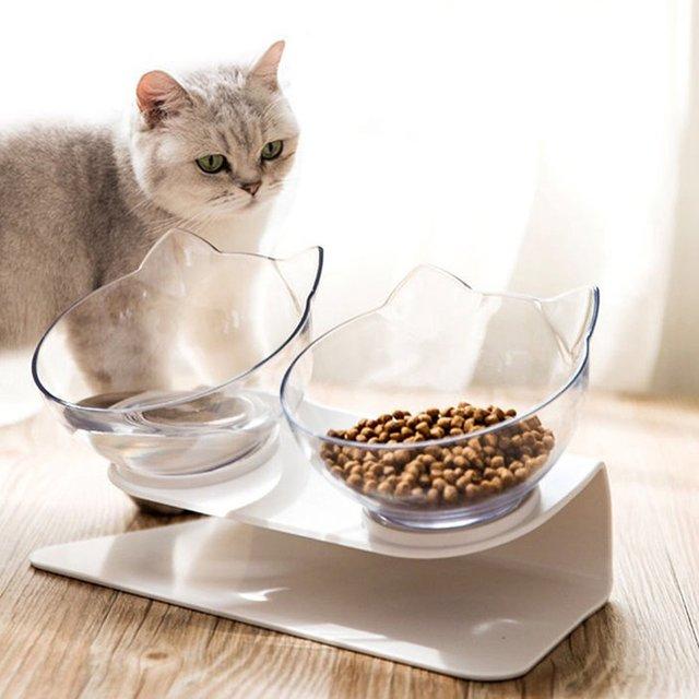 VIP chat bols avec support mangeoire pour animal domestique Double nourriture dîner bol ensemble parfait pour les chats Ultra petit Oblique bol pour animaux de compagnie-Transparent